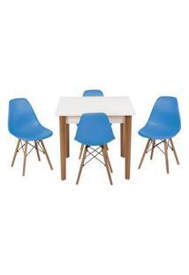 Conjunto Mesa De Jantar Luiza 80Cm Branca Com 4 Cadeiras Eames Eiffel - Turquesa