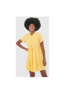 Vestido Chemise Vero Moda Curto Amarração Amarelo