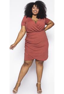Vestido Curto Almaria Plus Size Sinap Lurex Telha - Laranja - Feminino - Poliã©Ster - Dafiti