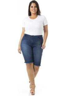 Bermuda Jeans Com E Lycra Plus Size Confidencial Extra Feminina - Feminino-Azul