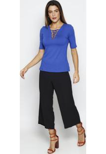 Blusa Com Tiras Cruzadas- Azul Escuro- Thiptonthipton