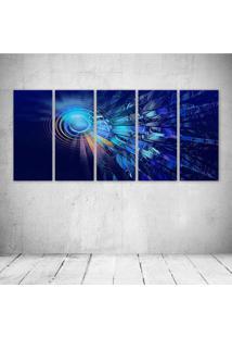Quadro Decorativo - Circles Lines Digital - Composto De 5 Quadros