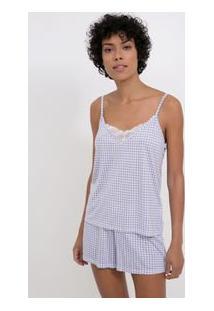 Pijama Alcinha Vichy Com Detalhes Em Renda