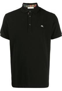 Etro Camisa Polo Com Logo Bordado - Preto