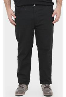 Calça Preston Sarja Plus Size - Masculino-Preto