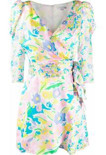 Olivia Rubin Vestido Envelope Com Estampa Floral Neon - Rosa