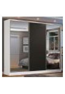 Guarda Roupa Casal 100% Mdf Madesa Zurique 3 Portas De Correr Com Espelhos - Branco/Preto