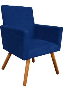 Poltrona Decorativa Nina Tressê Suede Azul Marinho D'Rossi