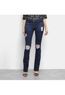 Calça Jeans Flare Lança Perfume Boot Cut Low Feminina - Feminino-Azul Claro