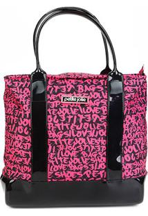 Bolsa Petite Jolie Graffiti La Playa Tote Feminina - Feminino-Preto+Pink