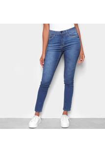 Calça Jeans Skinny Calvin Klein Estonada High R Body Sk Feminina - Feminino-Marinho