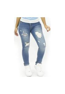 Calça Feminina Jeans Destroyed Clear Emporio Alex Jeans Azul