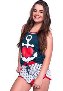 Baby Doll 4 Estações Pijama Ancora Com Tapa Olho Curto - Feminino-Azul