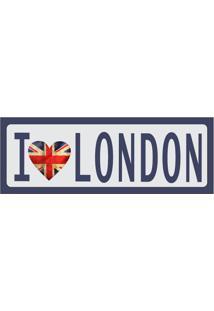 Placa Decorativa I Love London 10X30 Cm Preto