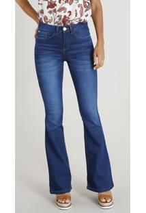 b5d2f8e3f CEA. Calça Jeans Feminina Flare Cintura Alta Azul Escuro