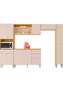 Cozinha Compacta C/ Balcão E Painel Vanessa-Poquema - Damasco / Off White