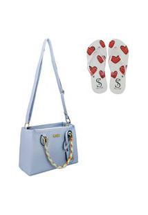 Bolsa Transversal Colorida Feminina Com Chinelo Selten Azul