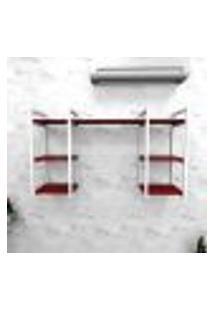Estante Industrial Escritório Aço Cor Branco 120X30X68Cm Cxlxa Cor Mdf Vermelho Modelo Ind29Vres