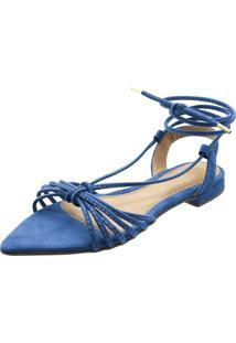 Sandália Rasteira De Corda Mania De Mulher Bico Fino Camurça Azul Zafira
