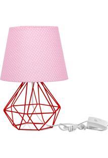 Abajur Diamante Dome Rosa/Bolinha Com Aramado Vermelho - Rosa - Dafiti