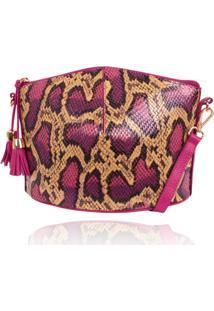 Bolsa Estruturada Campezzo Couro Snake Pink
