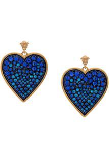 Versace Par De Brincos Em Forma De Coração - Azul