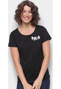 Camiseta Top Moda Boston Terrier Feminina - Feminino-Preto