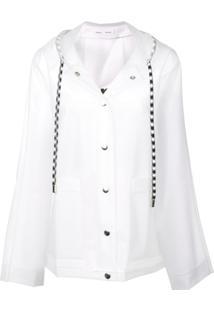 Proenza Schouler Jaqueta Leve Com Capuz E Logo - Branco