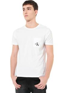 Camiseta Calvin Klein Jeans Com Bolso Branca