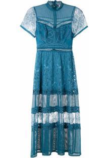 Martha Medeiros Vestido Midi Kaile Mix De Rendas - Azul
