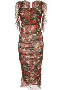 Dolce & Gabbana Vestido Midi Portofino Estampado - Vermelho