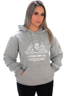 Blusa Moletom Amanda Brazil Flores Cinza - Kanui