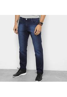 Calça Jeans Slim Replay Estonada Masculina - Masculino-Azul Escuro