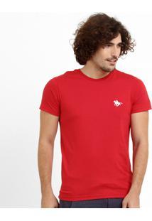 Camiseta Rg 518 Básica Bordado - Masculino-Vermelho