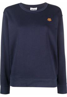 Kenzo Blusa Com Patch De Logo Bordado - Azul