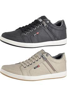 Kit Sapatênis Cr Shoes Com Elástico E Zíper Lateral Lançamento Bege E Preto