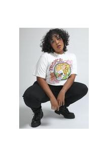 Camiseta Cropped Forever 21 Tropical Off-White