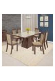 Conjunto De Mesa De Jantar Carol Com 6 Cadeiras Lívia Linho Álamo E Bege