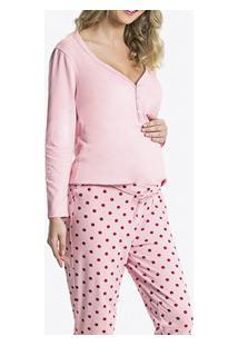 Pijama Longo Gestante Poá Malwee Maternity (1000052444) Algodão