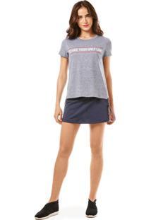 T-Shirt Morena Rosa Decote Redondo Detalhe Chaveiro Cinza - Cinza - Feminino - Dafiti
