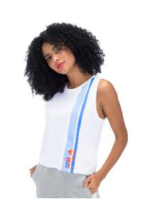 Camiseta Regata Fila Sport - Feminina - Branco/Azul Cla