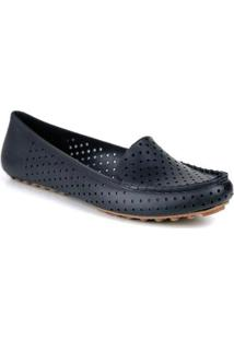 Mocassim Tag Shoes Pvc Colors Feminino - Feminino-Preto