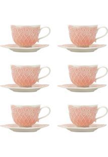 Jogo 6 Xícaras De Café Com Pires Wolff Givemy Porcelana 90Ml Rosa