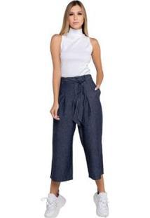 Calça Latifundio Pantacourt Jeans Feminina - Feminino-Azul