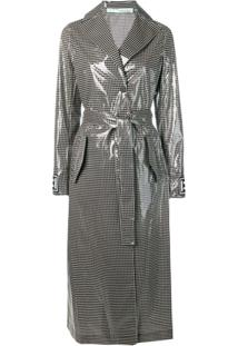 Off-White Checked Trench Coat - Preto