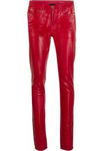 Saint Laurent Calça Jeans Skinny Com Efeito Encerado - Vermelho