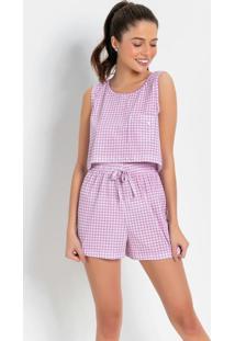 Pijama Cropped Xadrez Rosa
