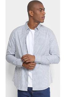 Camisa Manga Longa Calvin Klein Slim Listrada Cannes Masculina - Masculino-Azul+Branco
