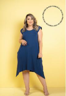 Vestido New Comfy Marinho Plus Size