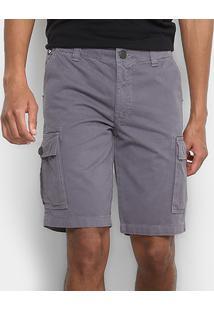 Bermuda Jeans Hang Loose Bolso Faca Masculina - Masculino-Grafite